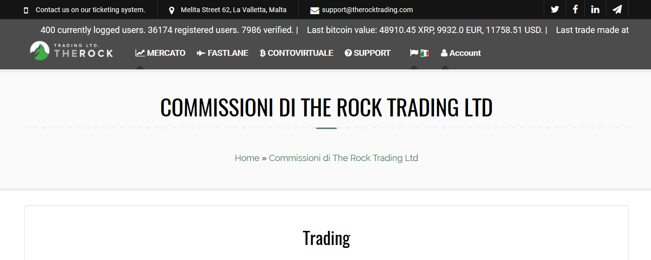 commissioni The Rock Trading