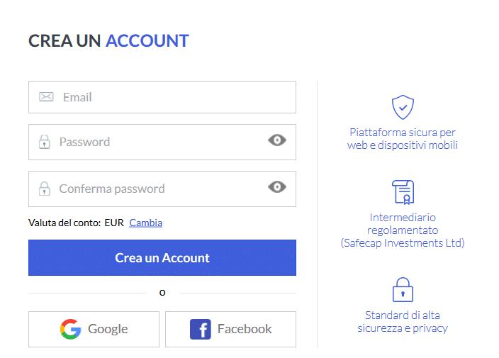 creazione conto markets.com