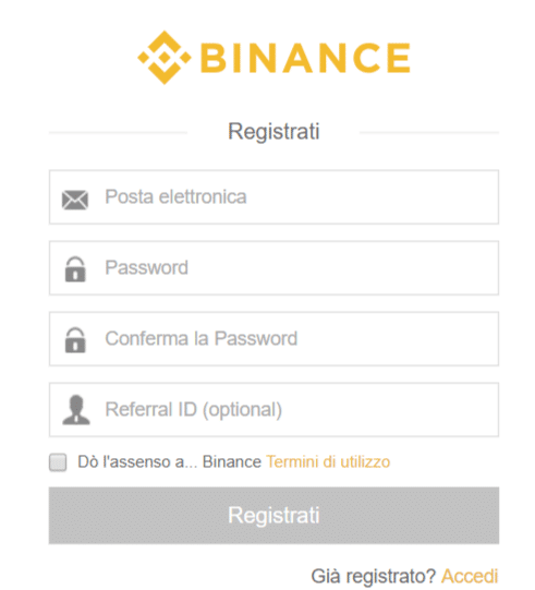 come registrarsi su binance