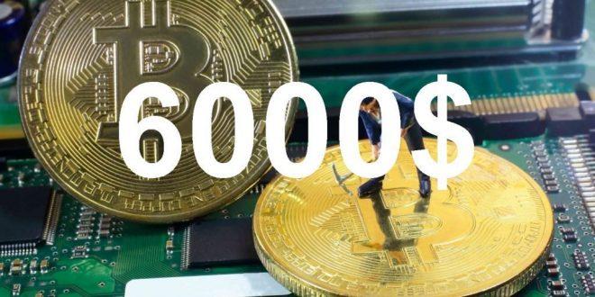 bitcoin pronta a testare la soglia dei 6000 dollari per token
