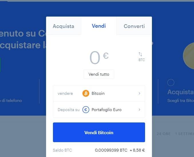 compra/vendita di criptovalute su Coinbase