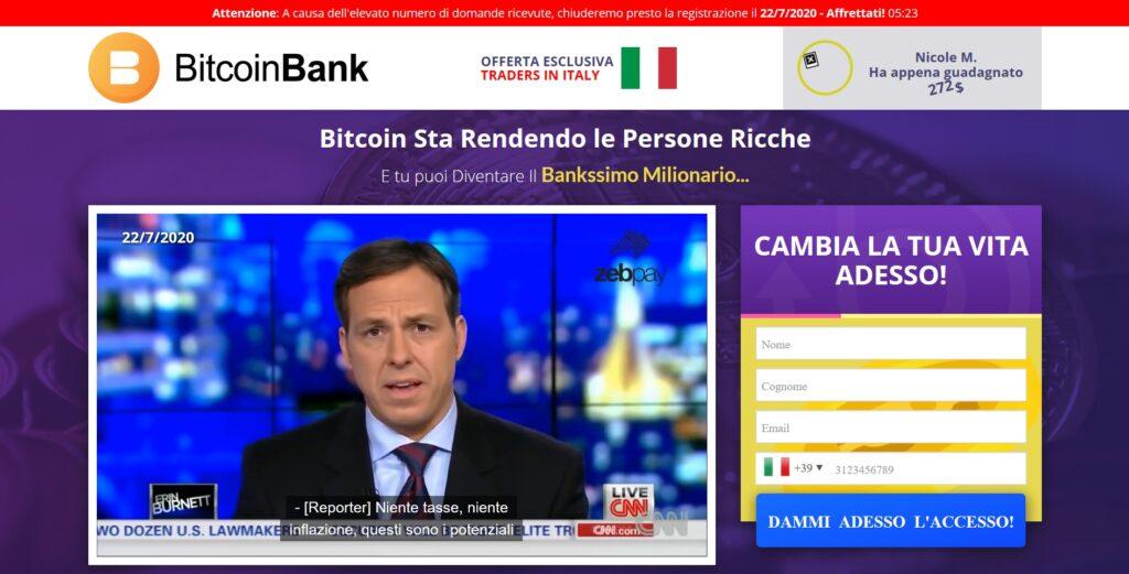 bitcoin bank - il sito ufficiale del sistema truffaldino.