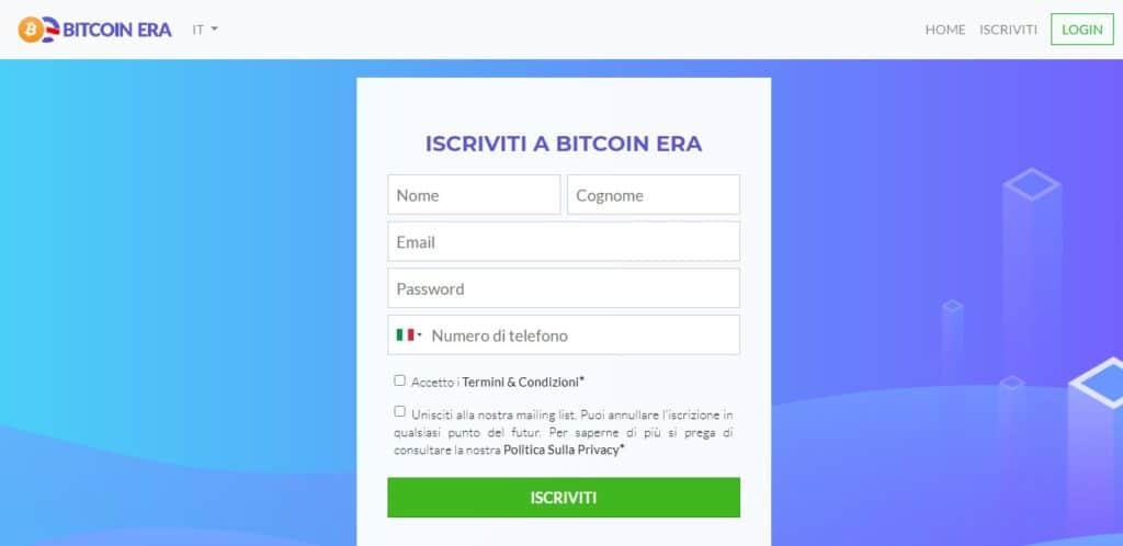 iscrizione al sito bitcoin era