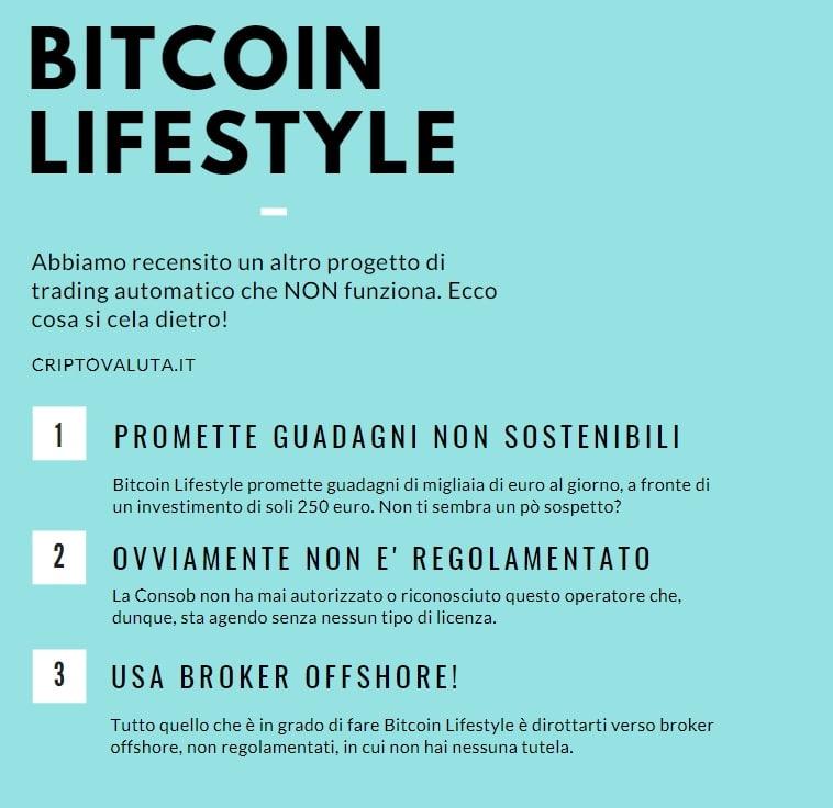 Bitcoin Lifestyle - cos'è e come funziona / Opinioni e recensioni - INFOGRAFICA a cura di Criptovaluta.it