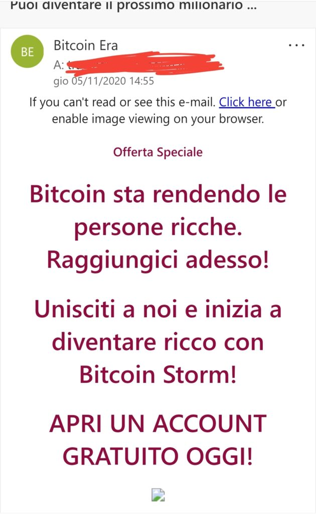 email spam bitcoin era, attenzione