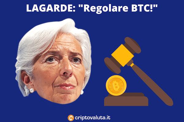 Lagarde vuole regolare bitcoin