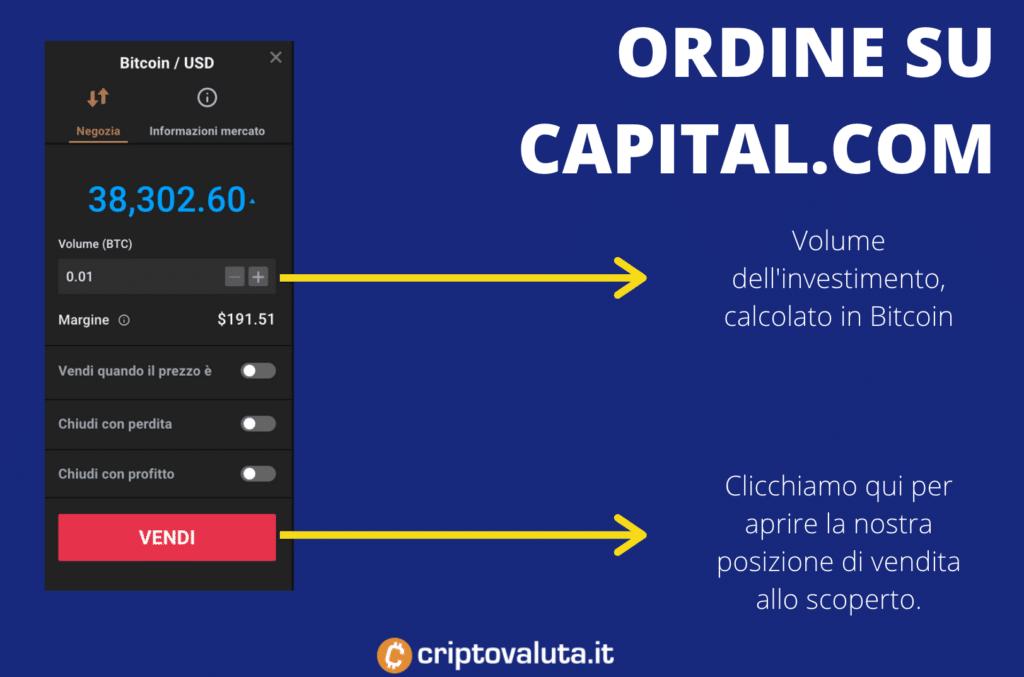Capital.com Ordine allo scoperto su BTC