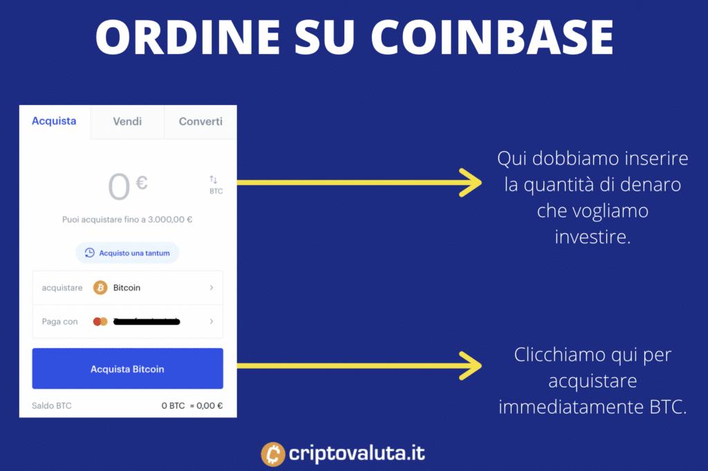 Ordine BTC su Coinbase