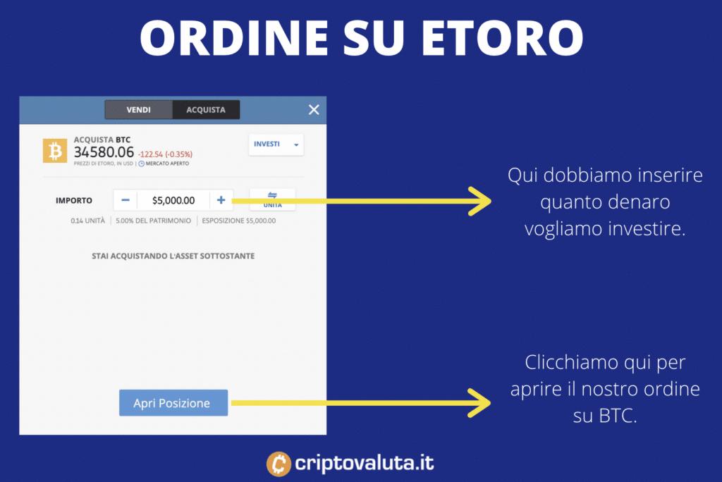 eToro - ordine su BTC