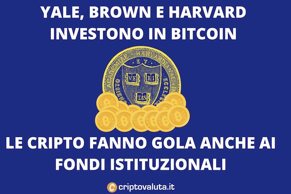 Fondi istituzionali investono su BTC - è il turno di Yale e Harvard