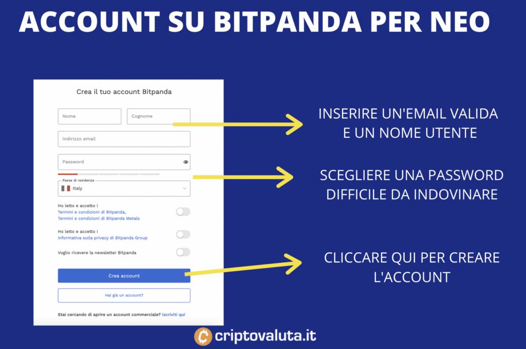 BItPanda - aprire account per comprare NEO