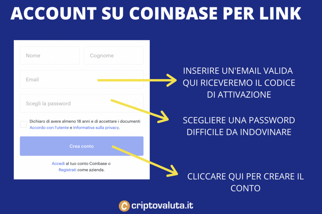 Aprire account Chainlink Coinbase