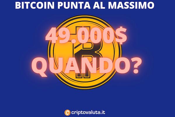Bitcoin vicino al massimo dei 49.000$?