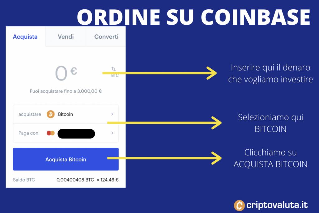 Ordine Coinbase Bitcoin