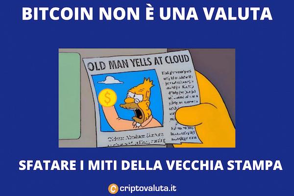 Bitcoin no valuta - ecco perchè