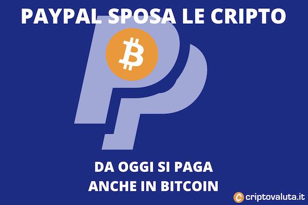 Paypal: parte il supporto per Bitcoin anche per i pagamenti