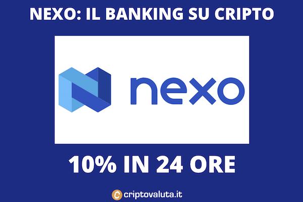 NEXO BOOM: +10% da parte del token dei prestiti in cripto