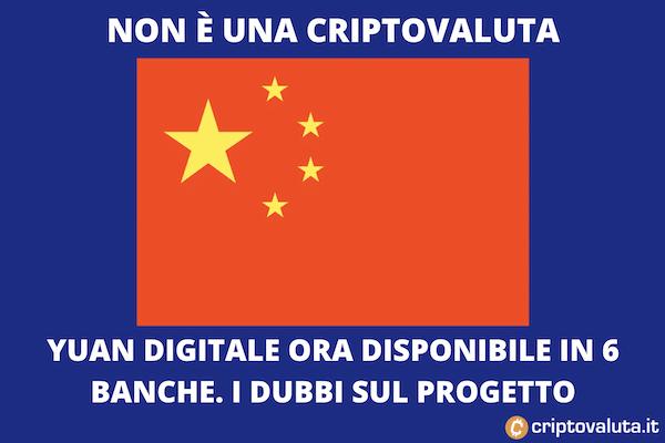 Yuan Digitale ora attivo in 6 banche cinesi
