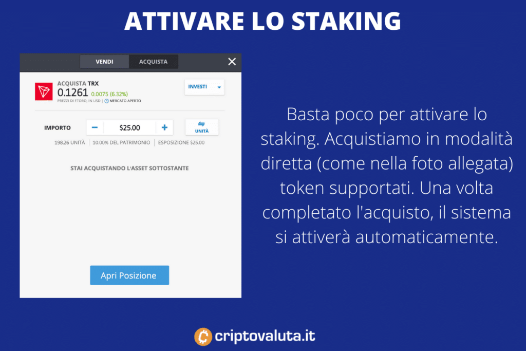 Staking eToro - criptovalute supportate