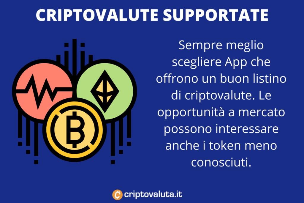 Mercati offerti App cripto - a cura di Criptovaluta.it