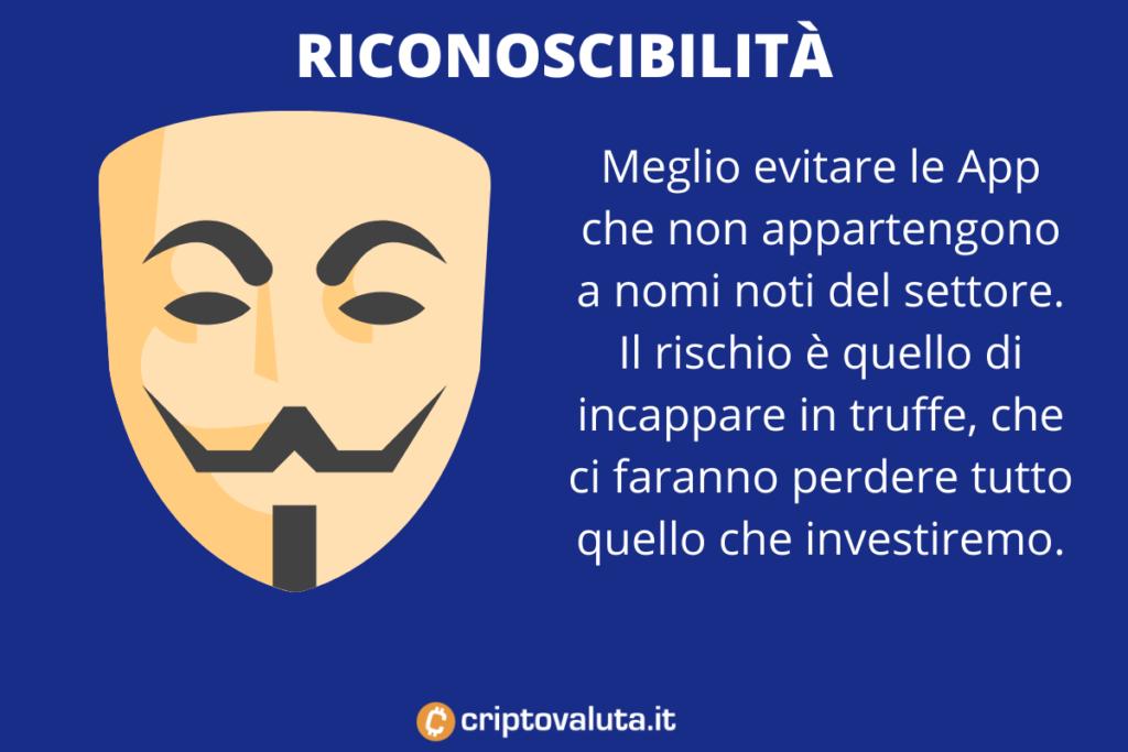 riconoscibilità App - di Criptovaluta.it
