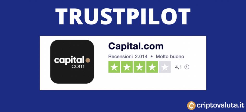 TrustPilot - recensioni su Capital.com - a cura di Criptovaluta.it