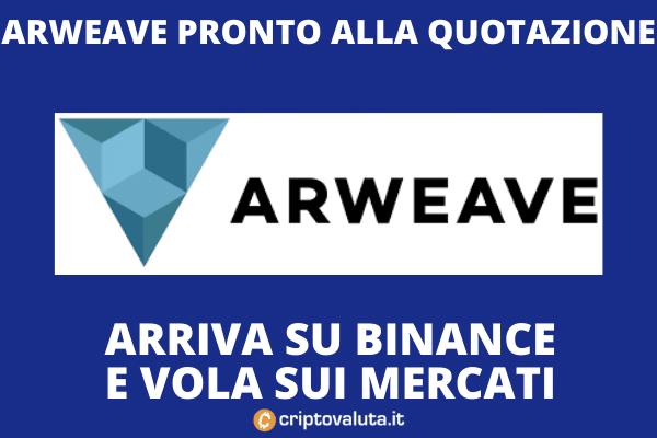 AR quotazione su Binance - approfondimento di Criptovaluta.it