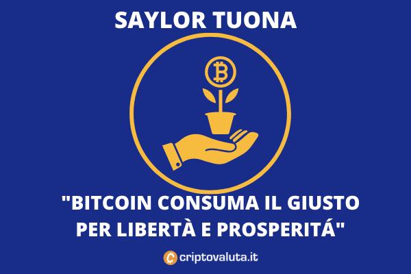 Saylor su BTC: consuma poco - di Criptovaluta.it