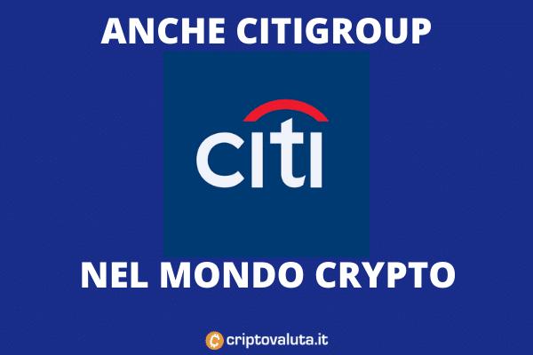 Citigroup Criptovalute - ingresso nei servizi