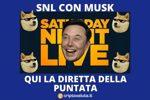 Criptovaluta.it - diretta Saturday night live con Elon Musk e Dogecoin