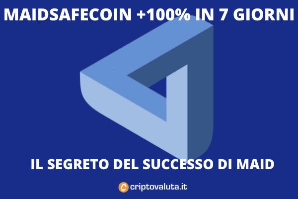 MaidSafeCoin vola sul mercato - analisi di Criptovaluta.it