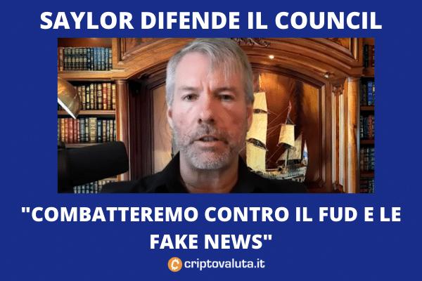 Saylor a difesa del Council - potrà combattere FUD e Fake News