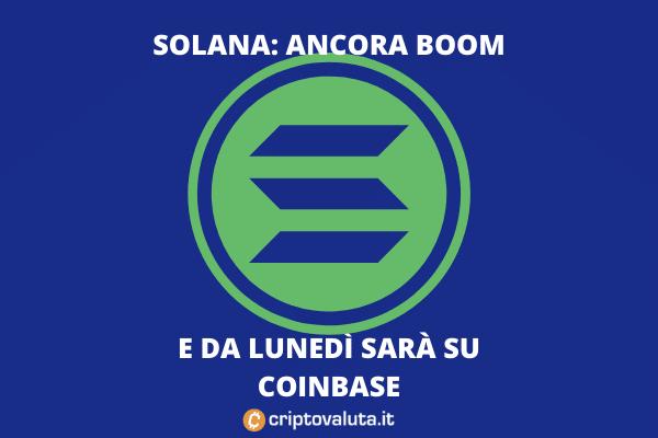 Solana: boom prima di arrivare su Coinbase