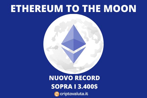 Ethereum sopra 3.400 massimo storico