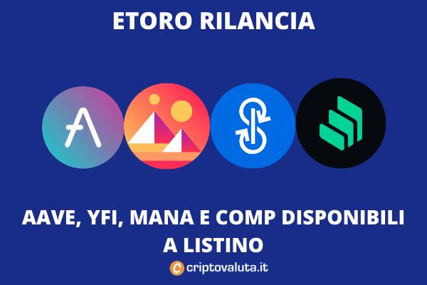 eToro - mana, yfi, aave e compound disponibili - di Criptovaluta.it