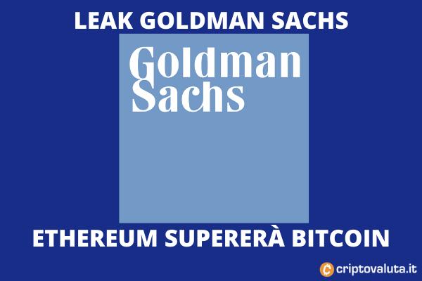 Ethereum supera BItcoin secondo Goldman Sachs