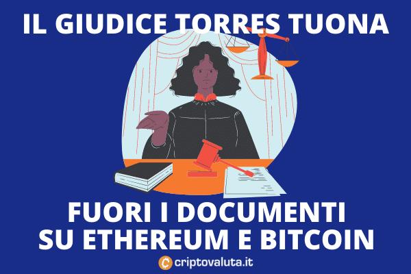 Torres su Bitcoin ed Ethereum - accettata l'ingiunzione