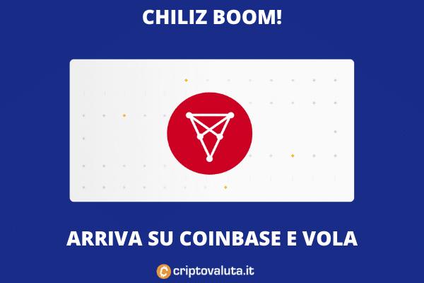 Coinbase lancia CHZ e il prezzo vola