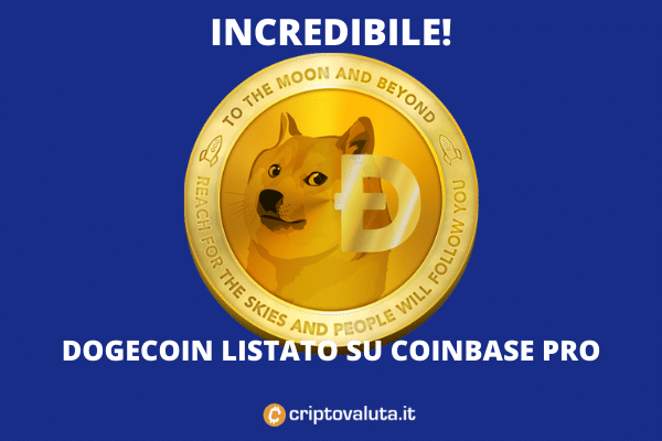 Dogecoin listato su Coinbase - si parte giovedì