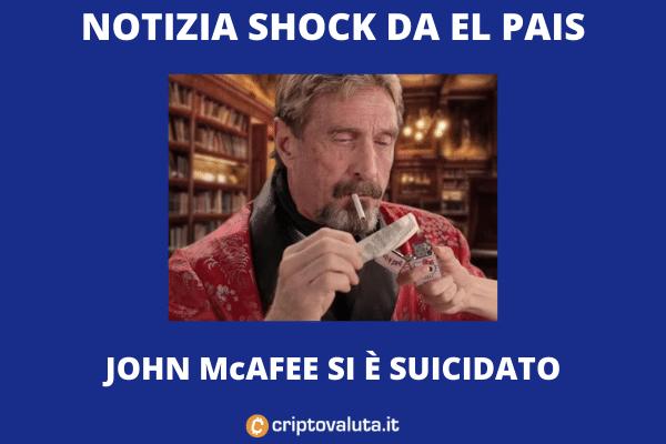 John Mcafee morto suicida in carcere