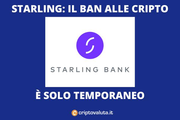 Starling ban criptovalute - è solo temporaneo