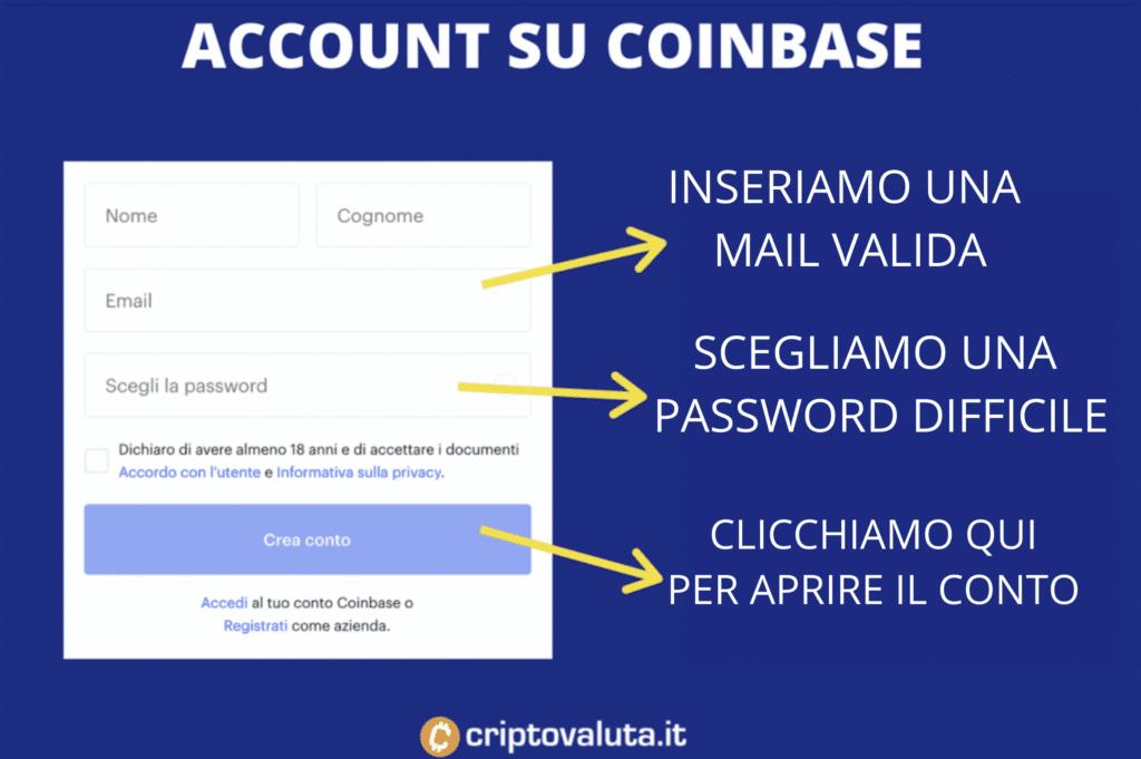 Schermata account Coinbase - a cura di Criptovaluta.it