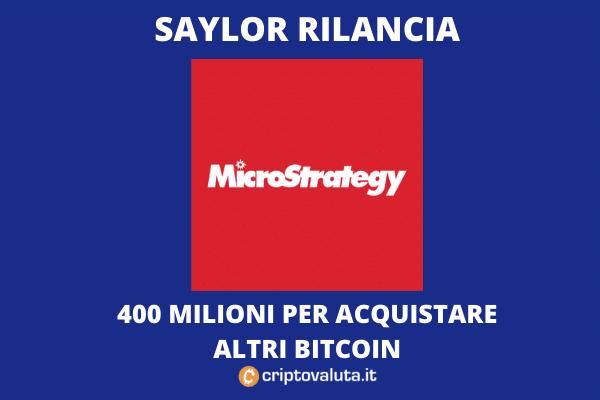 Bitcoin: MicroStrategy vuole comprare altri 400 milioni