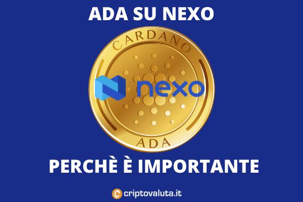 Nexo ADA Cardano accordo - l'analisi di criptovaluta.it