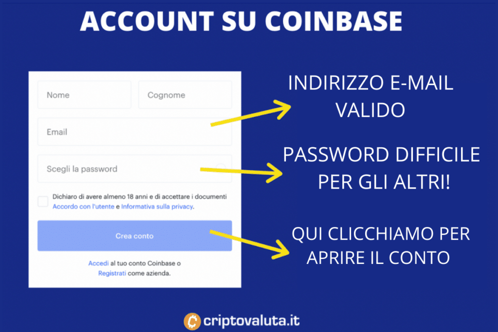 Apertura conto Coinbase - la prima fase - di Criptovaluta.it
