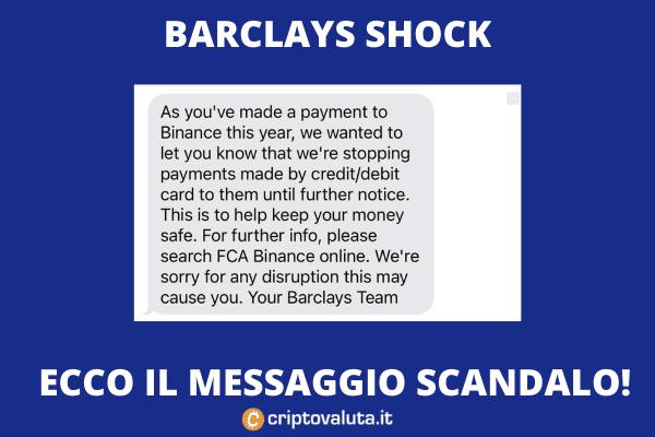 Barclays messaggio Binance - di Criptovaluta.it