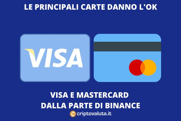 VISA MASTERCARD e BINANCE - approfondimento di Criptovaluta.it