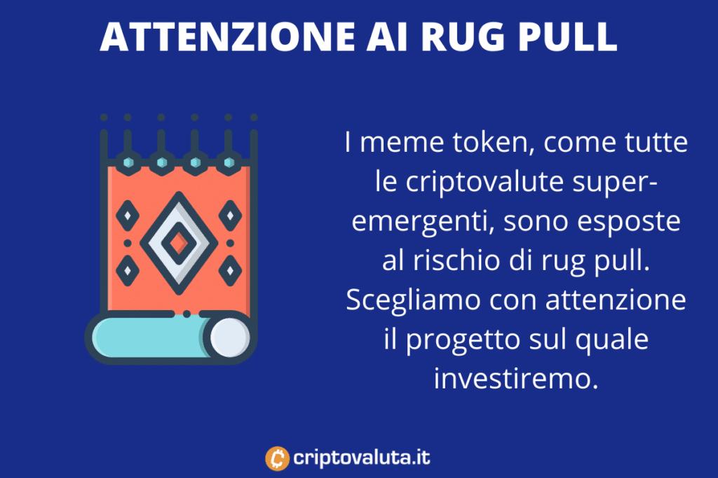 Rug Pull su Meme Token - infografica di Criptovaluta.it