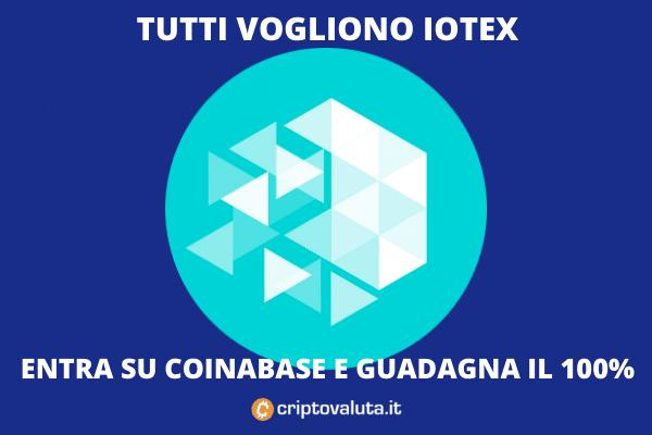 Coinbase Pro lista Iotex e il token vola