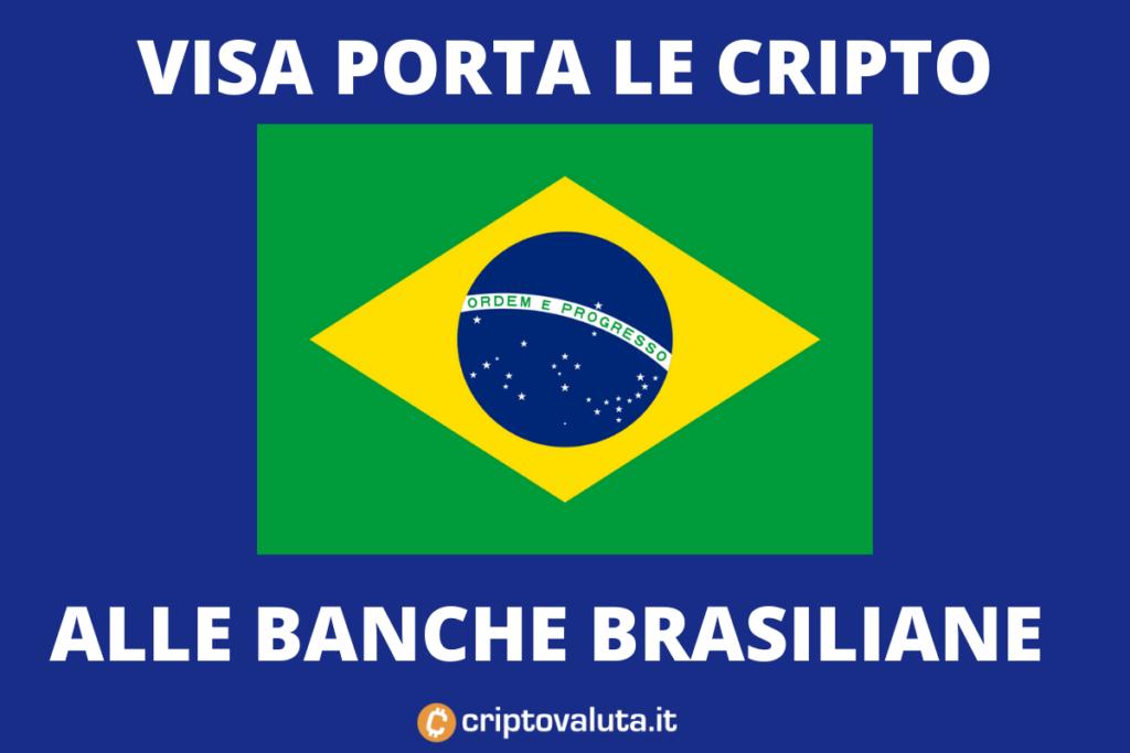 Brasile: VISA porterà i servizi cripto nel paese carioca